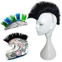 Caschi moto Mohawk riutilizzabili parrucche sintetiche Stick on Racing Outdoor Bicycle Accessori Universali Casco HAWKS Autoadesivo per capelli Solido