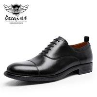 DESAI الرجال اللباس أحذية جلدية حقيقية عارضة الرسمي الأعمال العمل لينة لرجل ذكر رجال أكسفورد شقق حذاء كبير الحجم
