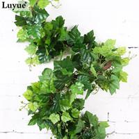 Luyue 2.2M الاصطناعي لبلاب أوراق إكليل محاكاة العنب ورق عنب النباتات القش وهمية الخضرة الزهور وهمية النباتات الخضراء