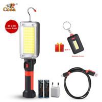 COBA levou portátil holofotes cob lâmpada de trabalho magnética 18650 plástico caso 3000lm usb à prova d'água lanterna de acampamento recarregável