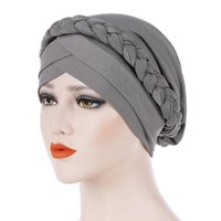 Frauen Soft-Krebs Chemo Cap-Haar-Zusätze Verpackung moslemisches Braid Beiläufiges Stretch Turban Hat elastische Kopf Schal Mode Knot