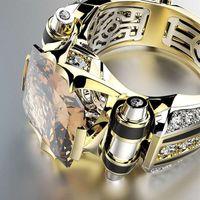 High-End Haojie il commercio estero nuove elettrolitico diamante incastonato Mens Prepotente Anello europei ed americani di colore creativo Separazione En