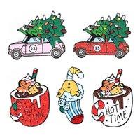 Lindo coche pequeño árbol helado Git regalo divertidos esmalte pernos de las broches para las mujeres Demin Navidad Camisa decoración broche de la placa de metal pin de Kawaii