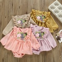 INS Long Sleeve Bodysuits Princess Baby Girls Rompers Floral...