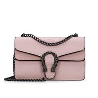 Fashion Damen Tasche Small Square New Bag Fashion Snake Geprägte Schultertasche Kette Messenger Bag