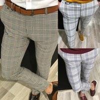 Moda Erkek Slim Fit Pantolon Casual Pantolon Koşucular Tartan Koşu Skinny Bottoms Yeni Artı boyutu kontrol