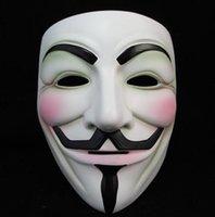 Blanc V Masque de mascarade Masque Masques Eyeliner Halloween facial Party Props Vendetta Anonyme Film Guy gratuit en gros LJJA5780 expédition