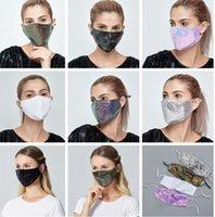 Sequined Cotton Mode Gesichtsmaske Wiederverwendbare Waschbar Maske mit Ohr-Loops Blush können Filterkissen Sequin Schein-Gesichtsmasken verwenden LJJK2425