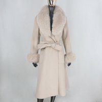 Miscele di lana da donna CXFS 2021 X-Long cashmere Real Fur Coat Belt Giacca invernale Donne Collare naturale e polsini Streetwear
