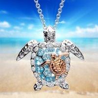 Pretty 925 Sterling Silver Tortuga Collar de tortugas marinas Madre bebé Colgante Personalidad Charm Mujer Joyería
