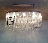 Eğri otel villa modern aydınlatma avizeyle candelabro yemek odası% 100 K9 kristal ışık Siyah F Dikdörtgen kristal avize