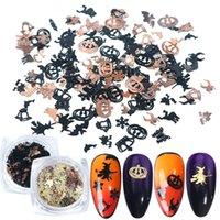 120pcs Halloween Nail Art Stickers Patch Gold Black Metal Pumpkin Strega Spider BAT ornamenti DAY Decor Manicure Paillettes Glitter