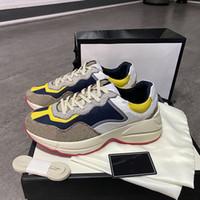 المرأة Rhyton أحذية رياضية الرجال أحذية عالية الجودة جلد طبيعي منصة رياضة مدرب الطباعة قديم أبي أحذية الحجم الكبير مع BOX
