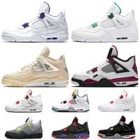 Nike Air Jordan 4 4s Jordan Retro 4 Off White Travis Scott قمة الأزياء ترافيس سكوتس الشراع 4 فون 4S Jumpman بيربل نساء أحذية الرجال لكرة السلة رابتورز أورانج لامع نيون PSG
