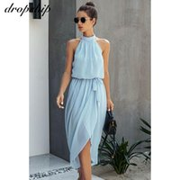 Повседневные платья Dropship летнее платье для женщин MIDI Сплошные элегантные дамы Sundress Halter Sashes Bodycon вечеринка вечеринка женская одежда