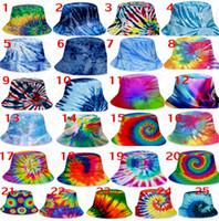 25 stilleri renk kravat-boya kovası şapka kapaklar unisex degrade güneş şapkası düz üst moda açık kap yetişkin çocuklar plajda güneş şapkaları D71502 ile