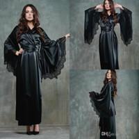 Noir Femmes Nuit Robe Peignoir de jeune mariée de demoiselle d'honneur Robes en satin de soie en dentelle de nuit Pyjama longue soirée nuptiale lingeries douche Robe