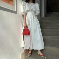 Летний французский стиль Мундир Длинные платья Женщины Chic-линии высокой талией Puff рукавом платье Женский 2020 Элегантный Vintage Lady Одежда
