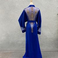 Nouvelle Haute Couture Superbe strass perles Robes à manches longues col en V Maxi Robe Taille Plus Sexy africaine Vêtements pour femmes avec Jupettes H13
