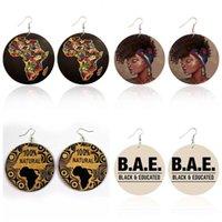 Новый раунд Деревянные серьги мотаться Printed Afro Женский портрет Письма Серьга Afro Карты Ear Hook Eardrop Женщины Jewelry себе Подарки