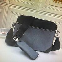 M69443 TRIO bolsa de mensajero de la lona inversa Eclipse para hombre Crossbody Bolsa Conjunto de 3 piezas de cuero de moda hombre del hombro del bolso con la carpeta del monedero del embrague