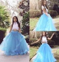 Twee stuk witte en blauwe verjaardagstoga kristal applique kant ruches tule Pageant jurken jurken juweel mouwloze vloer lengte bloem meisje jurken