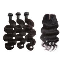 Полная голова Weaves расслоения с закрытием 4x4 волна тела бразильские девственницы наращивания волос уток с кружевным закрытием средняя часть Bella волос