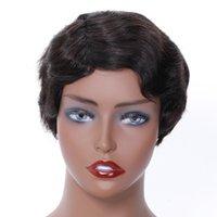 Pixie Cut Peruk İçin Siyah Kadın İnsan Saç Peruk Bob Makine Halısı Peruk Kısa Dantel Bob Peruk Dantel Ön İnsan Saç Peruk