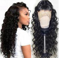 Полный шнурок человеческих волос Парики человеческих волос 13x4 фронта шнурка парики парик Дешевые воды Сыпучие волна предварительно набрался Natural Hairline