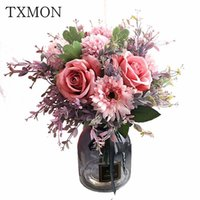 light luxury beautiful Pink Fuchsia artificial rose fake silk dried flower Wedding Nordic American home dining table decoration