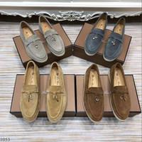 camurça Mens Mulheres Loro Caminhada Sapatilhas perfuração borlas Bloqueio designer de Flats oficial sapato de lazer vestido plus size 45 46