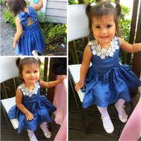 Ins Summer Girlsスカートノースリーブソフトデニムドレスレースネックデザイナーブルーカラーバックレスドレス子供女の子パーティー誕生日服ギフトLY708