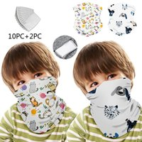 Ciclismo 12PCS Kids Cycling Windproof Bandana Scarf Dust Mask Sports Protection Balaclava Print Mascarilla Face Mask With Filter