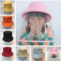 Дети против пыли Bucket Hat Clear Полный Маска для лица Visor Cap Мальчики Хлопок Непромоканцы шапки с Face Shield детей Анти Sunhat слюны
