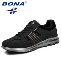 BONA 2020 New Men Casual Sapatos Lace-Up Shoes Lightweight confortável Walking respirável Sneakers Tenis Feminino Homem Zapatos