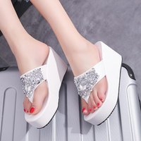 Fashion 2020 Summer Women's Slippers Rhinestone Wedges Flip Flops Clip Toe Beach Shoe Sandals Women D2#2
