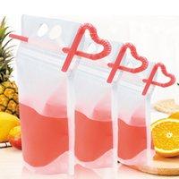 Klar Getränk Taschen Taschen Zipper Stand-up-Plastiktasche Trinken mit Stroh mit Halter Reclosable hitzebeständig Saft Kaffee Flüssig-Beutel DHL