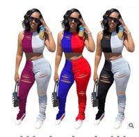 Çıkan Patchwork Tracksuits 2adet Uzun Yığın Pantolon Giyim Kadınlar Yüksek Bel İki Adet pantolonları Kadın Tasarımcısı Hollow ayarlar