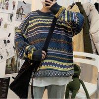 Мужские свитера 2021 Уюк зимняя база этнического стиля пэчворк пуловер воротник темперамент повседневная мужская свитер одежды гомбелью