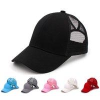 포니 테일 야구 모자 여성 메쉬 모자 트럭 운전사 포니는 순수한 컬러 쉐이드 캡 여름 복장 패션 조정 힙합 모자의 YFA2125 캡