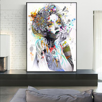 Girl With Flowers Abstract Canvas Art Prints Girl With Butterfly Recados Modern Posters Pop Art Pictures Para Sala Cuadros