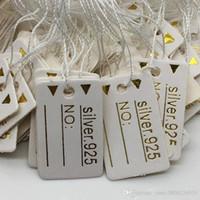 1000pcs Freie Verschiffen-Groß 24 * 15mm Weiß 925 Gold Label Tie String Preis-Anzeigen-Tags, Schmuck-Anzeigen