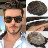 Natural Humain Hair Homme Toupée Toupée Française Dentelle Française Système de remplacement Fine Mono Poiriièces Perruques pour hommes