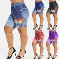 Women Summer High Waist Denim Shorts 3D Print Butterfly Jean...