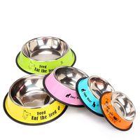 El color del caramelo de dibujos animados Comederos de acero inoxidable recipiente para perros mascotas alimentadores del gato Perros Alimentación de agua de alimentación para mascotas Cuenco nave de la gota fuente del perro