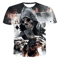 Tops 2020 de la camiseta de los nuevos hombres del verano cráneo 3D Poker moda de manga corta cuello redondo de la calle de la camiseta ocasional Unisex