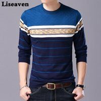 Liseaven Men Sweater O-Neck Casual listrado Camisolas Outono Inverno Marca Mens Pullovers CX200730