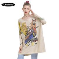 Chiskmio de punto-vestido de suéter largo de las mujeres de gran tamaño con capucha urbana de dibujos animados Jumper otoño suéter para las mujeres ropa de Harajuku