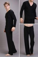 Tasarımcı pijamalar Kapşonlu Uzun Kollu Kısa Gevşek Erkek Pijama Yoga Pantolon Katı Renk Ev Casual Gevşek Mens Setleri