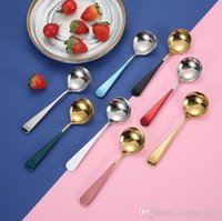 Good 304 Stainless Steel Dinner Spoons with Round Edge Colorful Handle Extra-Fine Dessert Spoons for Home Kitchen or Restaurant 228